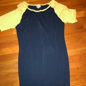 Navy blue and yellow Luluroe fitted dress